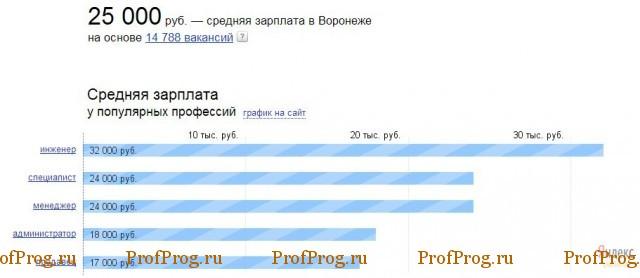 Статистика зарплаты в Воронеже